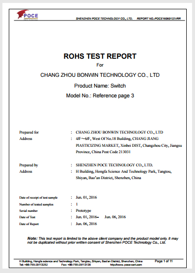 Rohs Test Report for Electronic Door Lock